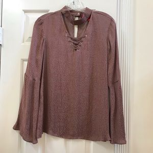 Jennifer Lopez silky bell sleeve top - mauve rose